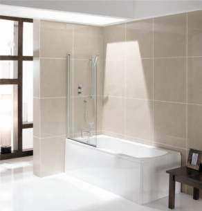 Jacuzzi Acrylic Baths And Panels -  Jacuzzi Pro Wbspromad500 White Madea Keyhole Two Tap Hole Shower Bath 1700x750mm