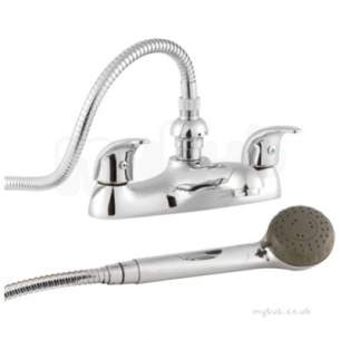 Twyfords Contemporary Brassware -  Aquations Premiere Deck Mounted 2 Tap Bath Shower Mixer Aq5868cp