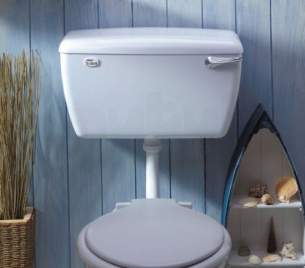 Thomas Dudley Cisterns -  White Tri-shell Low Level Cistern With Bottom Supply Outlet In White