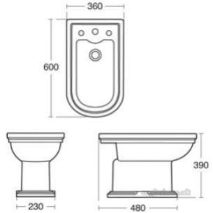 Ideal Standard Sottini Ware -  Ideal Standard Reprise E4351 Floor Stnding Bidet One Tap Hole Wh