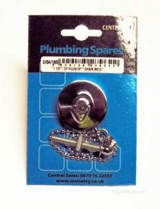 Own Brand Blister Packs -  Center Basin Plug And Ball Chain Chrome Plated 1.5 Inch