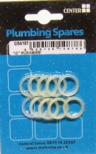 Cb Blister Packs -  Center Brand Udc/54/107 Na 13 Mm Nylon Washer Set Of 10