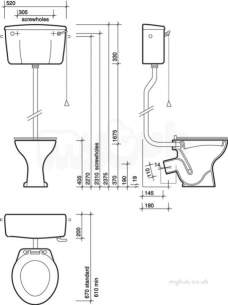 Twyfords Bs Whiteware Products -  Classic Standard Toilet P Trap High Level Cc1132wh