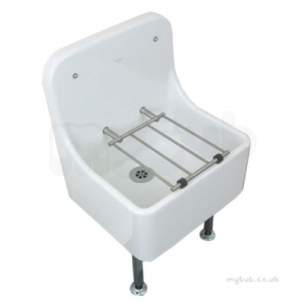 Twyfords Commercial Sanitaryware -  High Back Cleaner Sink 470 X405 Including Grating Fc1044wh