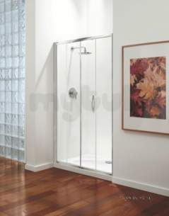 Coram Premier Shower Enclosures -  1200mm Premier Sliding Door Polished Silver Etched Satin Modesty Panel 1 Door Only