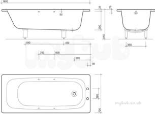 Twyford Celtic Baths -  Celtic Bath 1600x700 2 Tap Plain Inc Grips And Legs Bs1222wh