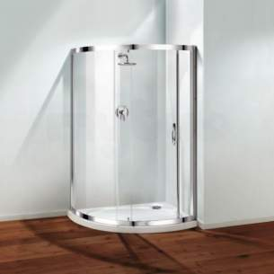 Coram Waterguard Shower Trays -  Coratech 1200 Crescent Slimline Left Hand Wh