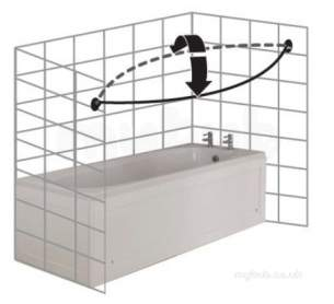 Croydex Shower Curtains and Rails -  Croydex Ad149441 Chrome Rods And Rails Curved Rotator Rod