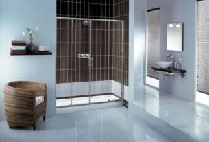 Showerlux Glide Enclosures -  Showerlux Glide 1400 Twin Door Slider Cp