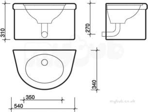 Twyfords Commercial Sanitaryware -  Defenda Solid Surface Handrinse Basin Df1520wh