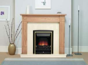 Be Modern Fire Surrounds -  Darras Nat Oak C/w Black Panel And Hearth
