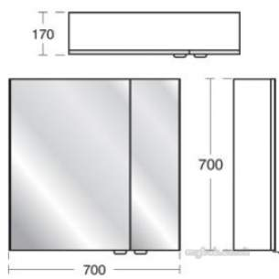 Ideal Standard Sottini Sundries -  Ideal Standard Sottini Fn Wall 700 Grey Mirror Unit