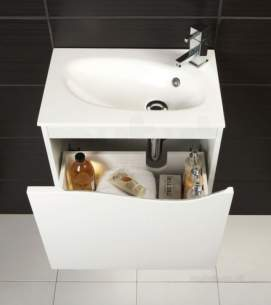Hib Lighting Cabinets and Mirrors -  Hib 1420090 White Sienna 500mm Wc Wash Basin Mineral Marble One Tap Hole
