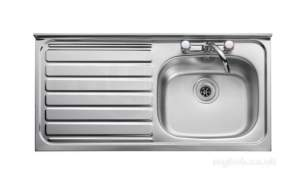 Rangemaster Sinks -  Contract Lc105l 1000 X 500 Left Hand Rl/front Ss