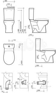 Twyford Mid Market Ware -  Galerie Plan Close Coupled Toilet Pan Btw Multioutlet Gn1145wh
