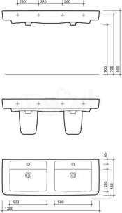 Twyford Galerie Plan Furniture -  Galerie Plan Double Basin 1300x480 1 Tap Gl4361wh