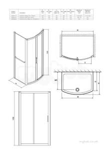 Twyford Geo6 and Hydr8 Enclosures -  Hydr8 Bow Sliding Door Side Panel 700mm H83401cp
