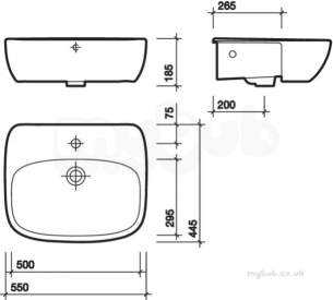 Twyford Moda Sanitaryware -  Moda Semi-recessed Washbasin 550x445 1 Tap Inc Fixings And Template Md4621wh