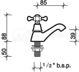 Twyford Traditional Brassware -  Mansfield 1/2 Pillar Taps Mf5205cp