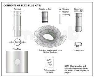 Grant Uk Oil Boilers -  Gfkit10/100 Grey Orange System Smooth Bore 10m Flexible Flue Kit For Boiler Up To 46 Kw
