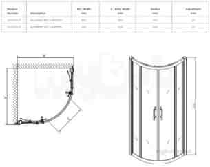Shower Enclosures -  Outfit Quadrant 800x800mm Of4700cp