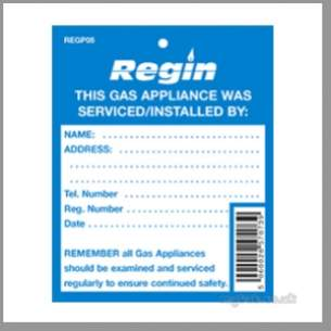 Regin Products -  Regin Gas Appliance Serviced Tag Per 8