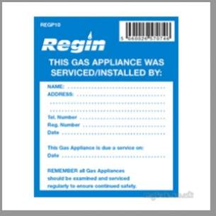 Regin Products -  Regin Regp10 Gas Appl Service Stickers