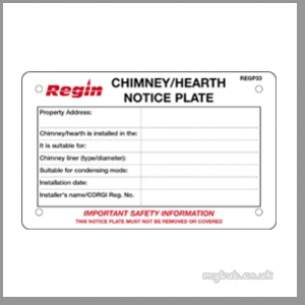 Regin Products -  Regin Regp33 Chimney Notice Plate Pk 10
