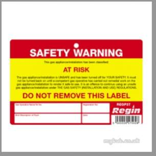 Regin Products -  Regin Regp37 Warning At Risk Sticker X8