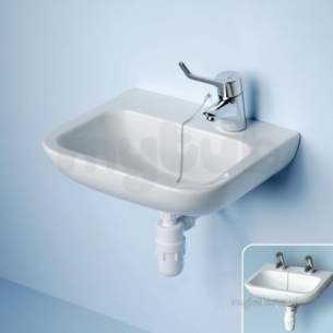 Armitage Shanks Commercial Sanitaryware -  Armitage Shanks Portman S2201 400mm No Tap Holes Basin And O/f Ex Chn Wh
