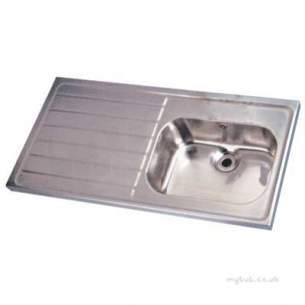 Twyford Stainless Steel -  1200 Sink Single Bowl And Left Hand Drain 0t Htm64 St A Ps4151ss