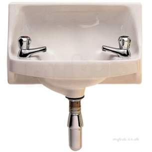 Twyfords Commercial Sanitaryware -  Parmis 500x300 Handrinse 2 Tap Wb1382wh
