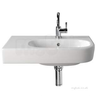 Twyford Quinta Sanitaryware -  Quinta Offset Washbasin 650x400 Left Hand Shelf 1 Tap Qt4411wh