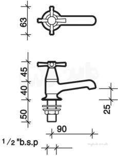 Twyfords Contemporary Brassware -  Rival Basin Pillar Taps Pair Rl5205cp