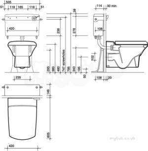 Twyfords Commercial Sanitaryware -  Wall Hung Toilet/bidet Bracket And Bolts Assembly Sr8138xx