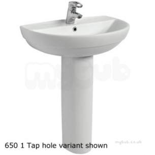 Twyford Mid Market Ware -  Refresh Washbasin 650x500 1 Tap Re4341wh