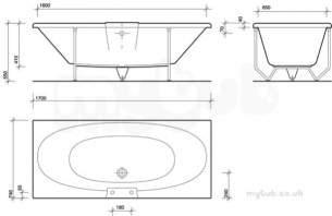 Twyfords Acrylic Baths -  Rio Double Ended 1700x750 No Tap No Grips Ri8500wh