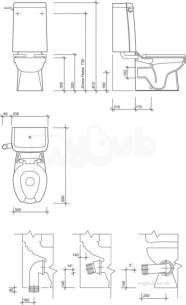 Twyfords Commercial Sanitaryware -  Sola School Rimless 300 Close Coupled Toilet Pan Ho Sa1512wh