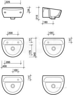 Twyfords Commercial Sanitaryware -  Sola Medical Washbasin 400x345 1 Tap Rh Htm64-lb G S Sa4155wh