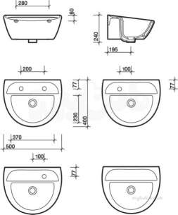 Twyfords Commercial Sanitaryware -  Sola Medical Washbasin 500x400 1 Tap Lh Sa4256wh