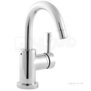 Twyfords Commercial Brassware -  Siron Side Action Lever Basin Monobloc With Push Button Waste Sn5526cp