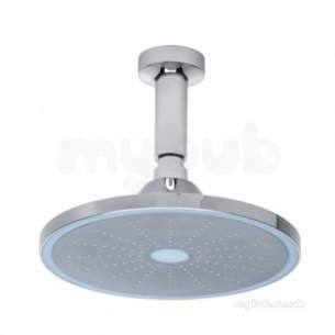 Roper Rhodes Showers -  Roper Rhodes Round 9 Led Shower Head Plus Grey Tpr