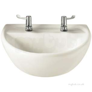 Twyfords Commercial Sanitaryware -  Sola Medical Washbasin 500x400 2 Tap Htm64-lb G M Sa4252wh
