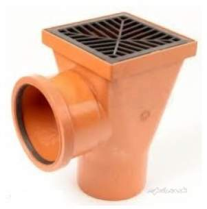 Polypipe Underground Drainage -  110mm Back Inlet Square Hopper Ug414b