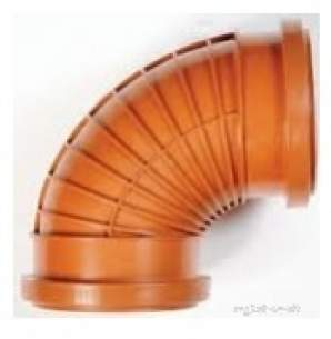 Polypipe Underground Drainage -  110mm X 15d P/rib Double Socket Bend Ur409