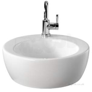 Twyford Visit Sanitaryware -  Visit 450 Lay On Basin Round 1 Tap No Overflow Gt4711wh