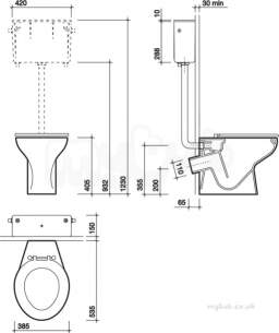 Twyfords Commercial Sanitaryware -  Delphic Back-to-wall Toilet P Trap Wc1742wh