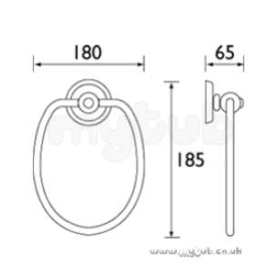 Bristan Accessories -  Bristan 1901 Single Towel Ring Cp