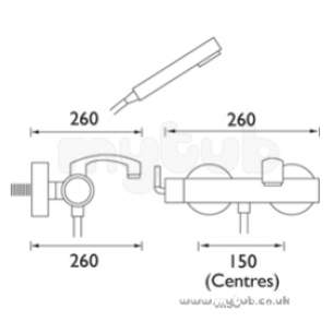 Bristan Showering -  Arc Wall Mounted Bath Shower Mixer Cp