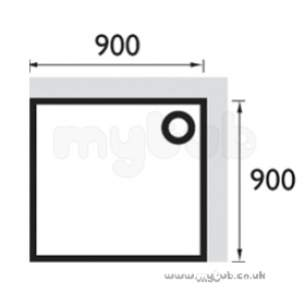 Bristan Showering -  Square Stw 900 X 900mm Shower Tray Wh